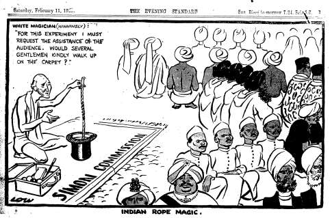The boycott of Simon Commission by Indian negotiators sounded the death knell of the British Raj in India  |  Cartoonist - David Low (1891-1963) Published - Evening Standard, 11 Feb 1928  |  Click for larger image.