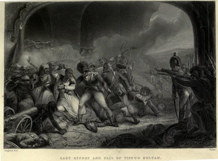 Indian Independence became a reality some 125 years after Tipu's last effort and fall of Seringapatnam. Contemporary British engraving.  |  Click for image.