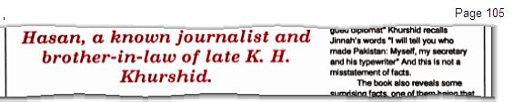 "Extract from ""Memories of Jinnah By K. H. Khurshid, Khālid Ḥasan"""