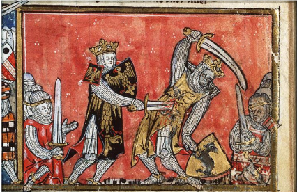 "Medieval caricature of the Alexander-Porus battle (""Alexander defeats King Porus in single combat""(West Flanders; c. 1325-1335)."
