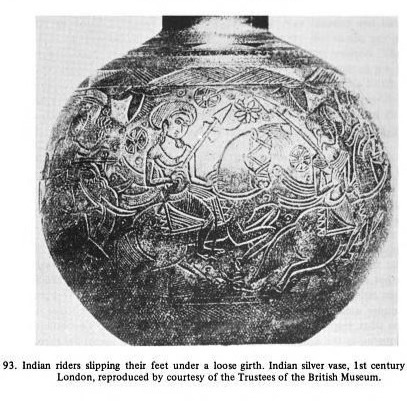 Early Indian figure with a stirrup (Courtesy - An early history of horsemanship  By Augusto Azzaroli).