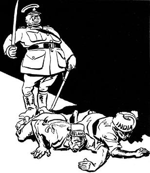 British Colonialism survived. In Indian minds! A cartoon after the Jallianwala massacre of Indian civilians at Amritsar by British troops on 13 April 1919. Captioned 'Progress to Liberty - Amritsar style'. (Cartoonist: David Low (1891-1963) Published: The Star, 16 Dec 1919; Source - http://www.cartoons.ac.uk/record/LSE6183).