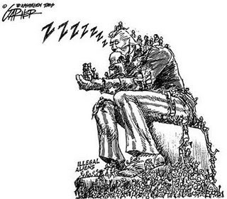 Sleeping Unca Sam overrun by illegal 'aliens.' Paranoid about 'immigration' (Cartoon by Bill Garner; © The Washington Times). Click for larger image.