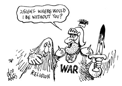To make war palatable, Desert Bloc invented religion. (Image source - loonpond.com; artist attribution not available at image source)
