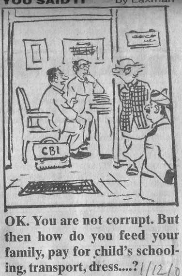 Two birds with one stone - Underpaid government employee of the past; and glib rejection of corruption charges. (Cartoon by RK Laxman). Click for larger image.