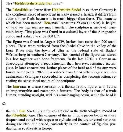 Lowenmensch or the Lionman - Book extract from Foundations of culture: knowledge-construction, belief systems and worldview ...  By Harald Haarmann (Courtesy - Google Books.). Click to go to original book.