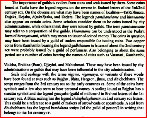 Guilds in Takshashila (Taxiles/a in Greek)- Extract from A History of Ancient and Early Medieval India: From the Stone Age to the 12th Century  By Upinder Singh (Pages 405-406). Source and courtesy - books.google.com. Click on the image to go to source.