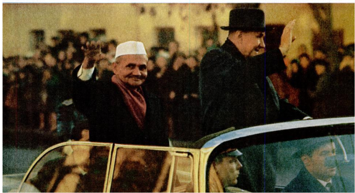 A grim LB Shastri riding with Alexei Kosygin, waves to crowds at Tashkent. (Source - LIFE - Google Books accessed on 2011-10-24 23-55-25; via books.google.com).
