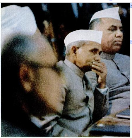 A wary Shastri with YB Chavan listening to Kosygin's opening address. (Image source - LIFE - Google Books accessed on 2011-10-25 10-24-57).