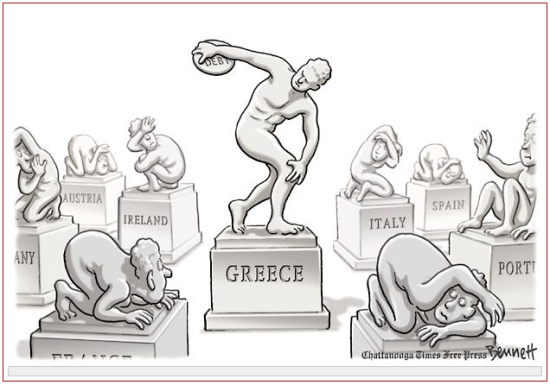 Is Greece a symptom or the effect of Euro-currency problem? (Cartoon by Clay Bennett; from The Chattanooga Times Free Press; source and courtesy - http://jeffreyhill.typepad.com). Click for source image.