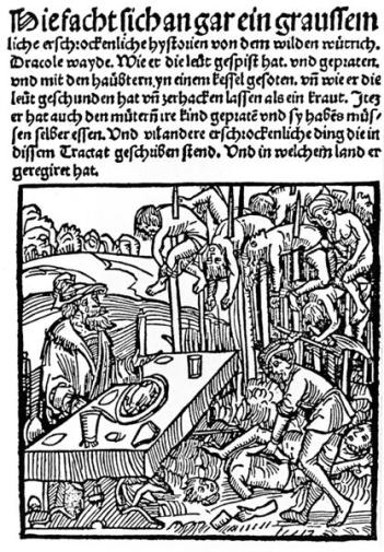 "Woodcut from the title page of a 1499 pamphlet published by Markus Ayrer in Nuremberg. It depicts Vlad III ""the Impaler"" (identified as Dracole wyade = Draculea voivode) dining among the impaled corpses of his victims.  