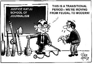 Markandey Katju is a reall bull in real china-shop - breaking down valuable stuff based on his imagined nightmares. | Artist: Sudhir Tailang, The Asian Age, November 2 2011; courtesy - http://searchingforlaugh.blogspot.com | Click for source image.
