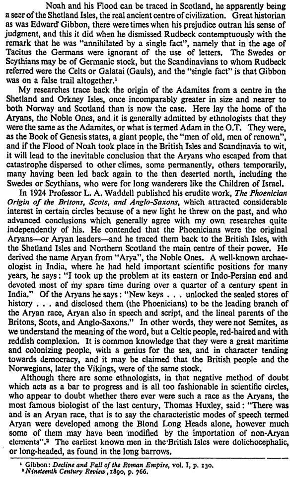 British Mainstream Thinking 1930s  |  From: The Riddle of Prehistoric Britain  By Comyns Beaumont  |  Page 21  |  Click to go to books.google.com