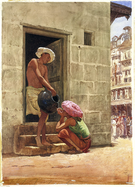This painting was used for Rudyard Kipling's book - Kim | A Drink by the way - a street scene in Bombay. 1876 by John Griffiths | Click for image.