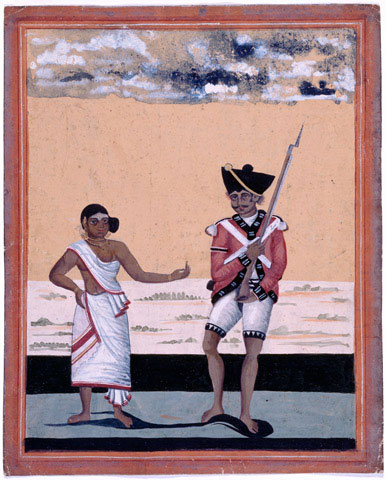 An Indian soldier with the Madras Native Infantry and his wife, circa 1810. Watercolour on Oriental paper, by a EEIC artist, at Tanjore, 1810 (circa)  |  Source - national-army-museum.ac.uk  |  Click for image.