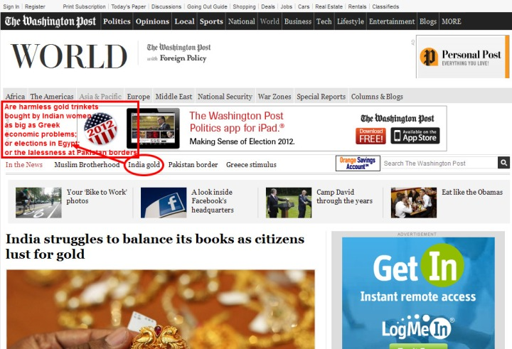 From India struggles to balance its books as citizens lust for gold - The Washington Post   |  2012-05-18 19-55-55  |