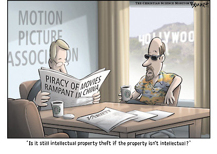 Piracy by China on IP rights of Hollywood. Cartoonist Clay Bennett takes a swipe at China and Hollywood. Sourece & courtesy - claybennett.com  |  Click for source.