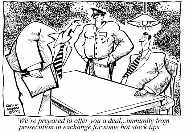 Did Rajat Gupta know that  this how insider-trading cases ae settled?  |  A Carol Simpson cartoon from 2003  |  Click for image.