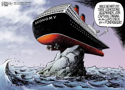 It is the economy stupid!  |  Caetoonist:  Nate Beeler of The Columbus Dispatch at Politicalcartoons.com  |  Click for image.