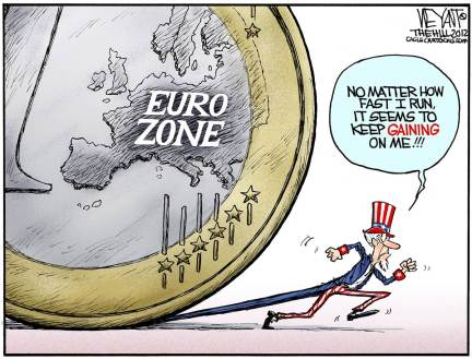 Obama is definitely worried about an asteroid like Euro-zone crisis derailing his campaign  |  Cartoonist: Christopher Weyant of The Hill, Politicalcartoons.com  |  Click for image.