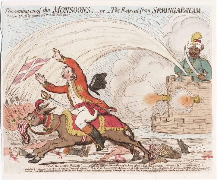 James Gillray, (1756-1815), leading printmaker, lampoons Cornwallis after battlefield reverses in India in a work Title: The coming on of the monsoons, or, The retreat from Seringapatam Related Title: Retreat from Seringapatam  |  Published: London; on December, 6th 1791 by H. Humphrey  |  Click for image.