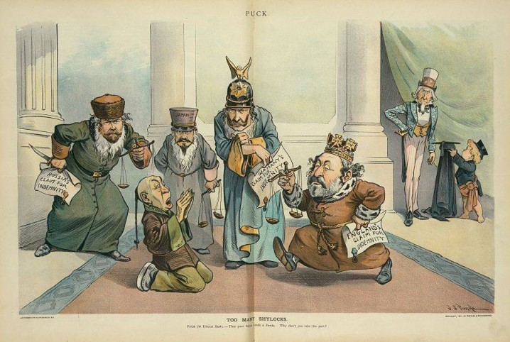 Russia, Japan, Germany and England as Shylocks gather round a kneeling China (Antonio) and demand their pounds of flesh for the Boxer Rebellion, while Puck urges the US to step in as Portia and rescue China. by John S. Pughe for Puck Magazine / Library of Congress Prints and Photographs Collection; Subtitle on the cartoon reads:
