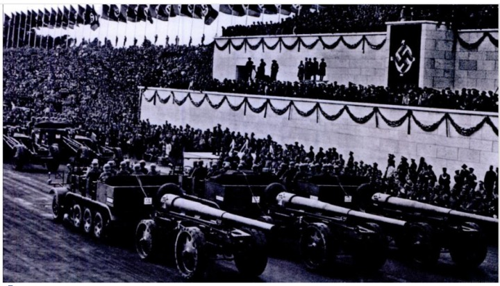 1935 Nazi Party Rally at Nurnberg displayed the new half-track artillery-carriers.  |  Image source and courtesy - Hitler's Army- The Men, Machines, and Organization- 1939-1945 - David Stone - Google Books 2012-08-02 17-43-23  |  Click for image.