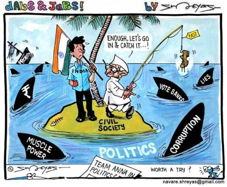 Will Party-Anna be significantly different. BJP had promised, falsely, that they will be different. |  Cartoon by Shreyas Navare on Friday, August 3, 2012 at 8:35 pm in blogs.hindustantimes.com