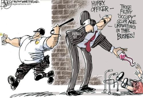Mirror, mirror on  the wall, who ia is worst of them all.  |  Lawless OWS Hippies  By Pat Bagley, Salt Lake Tribune - 10/27/2011 12:00:00 AM