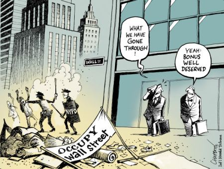 The elite did manage to drive away the 'usurpers'.  |  After the evacuation of OCCUPY WALL STREET  By Patrick Chappatte, The International Herald Tribune - 11/21/2011 12:00:00 AM