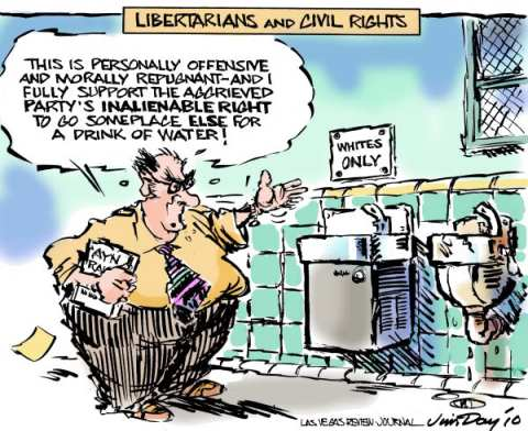 Ayn Rand's version of society. Can Ayn Rand be the 'guiding light' at Cato Institute!     Libertarians and Civil Rights by Jim Day, Las Vegas Review-Journal