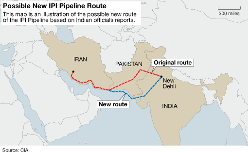 IPI Pipeline Route Proposals: To limit probable supply disruptions, India has proposed bypassing Pakistan completely. Image courtesy - energytribune.com.