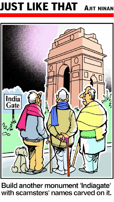 Built by profiteers from Bhagat Singh's death. Built to perpetuate the memory of the British Raj  |  Cartoonist - Ajit Ninan  |  2010 Dec 29  | The Times Of India Hyderabad  |  Click for image.
