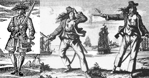 Calico Jack Rackham with his two pirate wives - Mary Read and Anne Bonney.