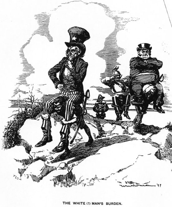 "This cartoon, published in March of 1899 in Life magazine, shows Uncle Sam, John Bull and Kaiser Wilhelm overweight figures carried on the backs of non-white people, bent over under their weight. Mainly 'inspired' by Rudyard Kipling's poem, ""The White Man's Burden"" published in 1899, an appeal to the United States to assume the 'burden' of 'developing' the Philippines, recently won in the Spanish-American War.  