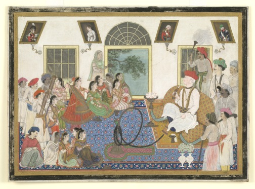 Ochterlony, like many Britishers of his age, lived a double life. By night,he lived in Mughal style with his Mughal wives, as seen in his celebrated image on view here, dressed in turban and kurta pajamas watching his dancing girls. By day he promoted the interests of the Company. He also fought in the Anglo-Maratha war of 1803–5, and the 1815 Nepal War of 1815, and was a prominent person in the Company's political service.