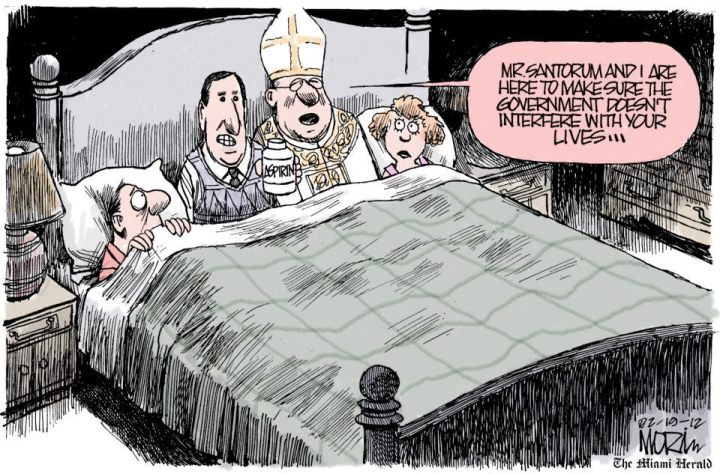 The State and the Church are competing to find newer ways to intervene in the family lives of its citizens. | Cartoonist Jim Morin; in Miami Herald; on February 20, 2012  | Click for larger image.